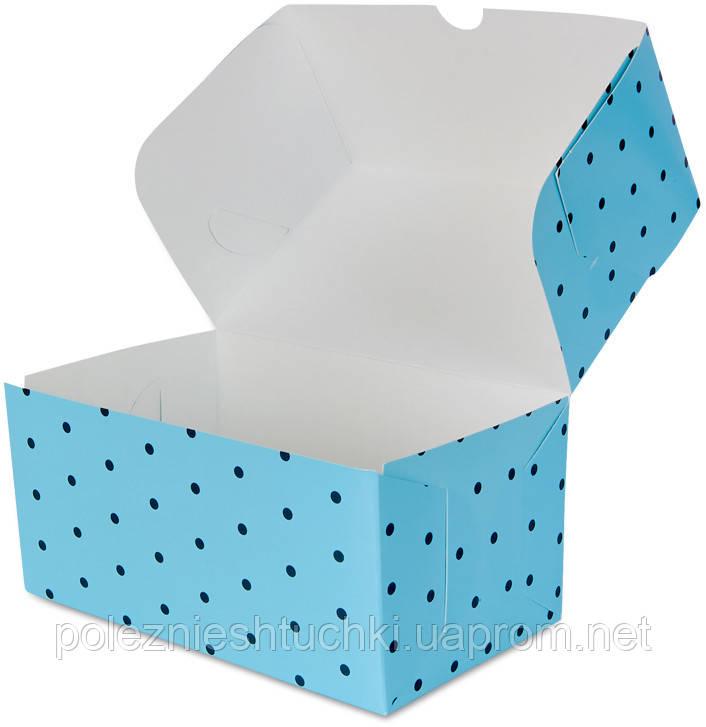 """Бокс одноразовый для десертов 16х10х8 см., 100 шт/уп бумажный, голубой """"Голубой горошек"""""""