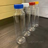 Бутылка с широким горлом 384 мл. Ǿ3,8 см. высокая, пластиковая, прозрачная РЕТ (Крышка 020222)