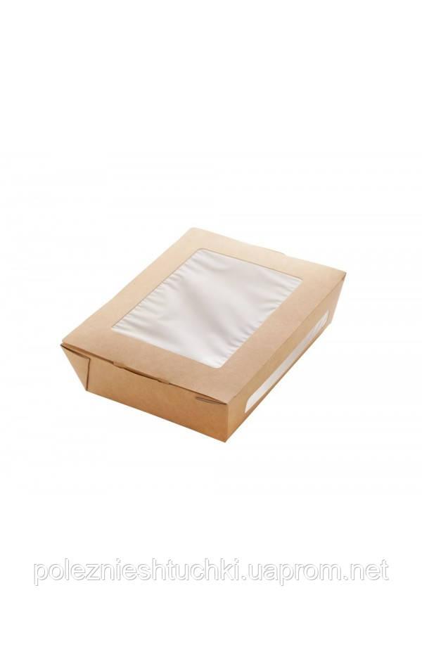 Контейнер бумажный для салата 1РЕ крафт 150*115*50мм с окошками 600мл