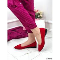 Балетки женские красивые с квадратным каблуком красные 27909