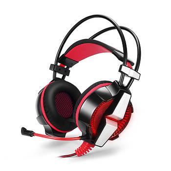 Игровая гарнитура KOTION GS700 Черный+Красный проводные наушники для ПК со светодиодной подсветкой
