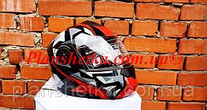 Шолом для мотоцикла F2-159 трансформер + окуляри чорно-червоний XS/S
