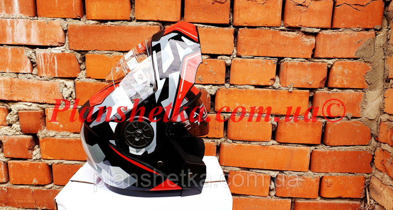 Шолом для мотоцикла F2-159 трансформер + окуляри чорно-червоний XS/S, фото 3