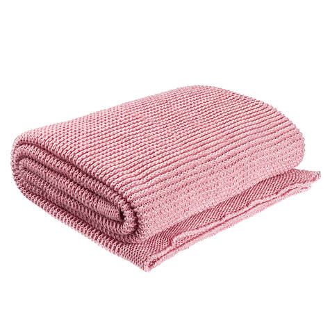 Плед вязаный Ohaina 170х130 Powder Pink