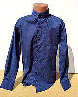 Синяя рубашка на мальчика длинный рукав 6-15 лет