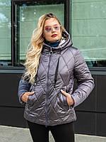 Куртка женская осень-весна  большого размера   48-58 сиреневый