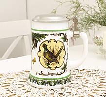 Немецкий пивной бокал, кружка для пива, стеклокерамика, оловянная крышка, Германия, охота
