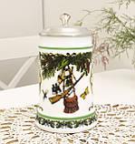 Немецкий пивной бокал, кружка для пива, стеклокерамика, оловянная крышка, Германия, охота, фото 3