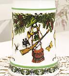 Немецкий пивной бокал, кружка для пива, стеклокерамика, оловянная крышка, Германия, охота, фото 4