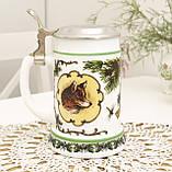Немецкий пивной бокал, кружка для пива, стеклокерамика, оловянная крышка, Германия, охота, фото 5