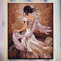 """Картина за номерами (набір для розпису) Ідейка на підрамнику, Люди """"Танцівниця фламенко"""" 40*50 см, без коробки"""