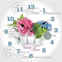 Часы настенные стекло/круглая. 28 см Цветы