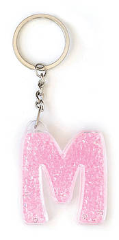 Брелок YES буква  &ampquotМ&ampquot, розовая