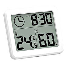 Термогигрометр цифровой с функцией отображения времени Digital Indoor Hygrometer белый (DH-19905)