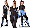 Річний стильний жіночий брючний прогулянковий костюм двійка: футболка + штани (р. 48-62). Арт-2260/42