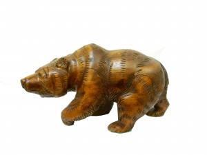 """Статуэтка """"Медведь обыкновенный бурый медведь"""" из натурального дерева махонь темно коричневого цвета"""