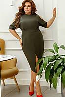 Модное женское платье батал 48 - 58 рр креп костюмка