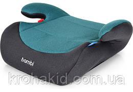 Бустер в автомобиль с подлокотниками M 2784 Gray Mix «Bambi» детский, 38-35-16см (бирюзовый)