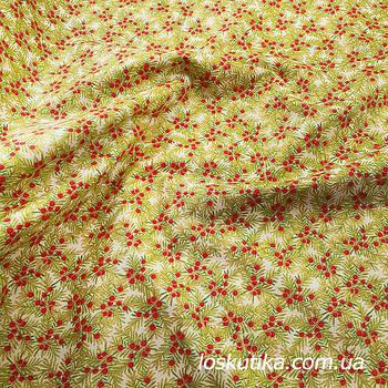 57001 Новогодняя ягодная. Ткань с золотом. Американские ткани новогодним принтом.