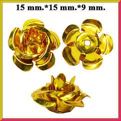 Набор Пайетки Розы Объемные Золотистые 20 штук Диаметр 15 мм для Рукоделия