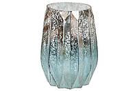 Подсвечник стеклянный  (цвет - лазурное серебро) 14*20см