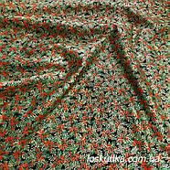 57002 Новогодняя ягодная (темный фон). Ткань с золотом. Ткань для рукоделия.., фото 2