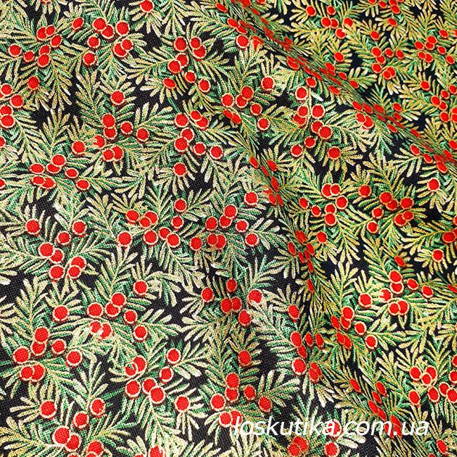 57002 Новогодняя ягодная (темный фон). Ткань с золотом. Ткань для рукоделия..