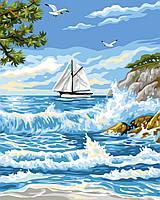 """Картина по номерам. Brushme """"Прибой у острова"""" GX24116"""