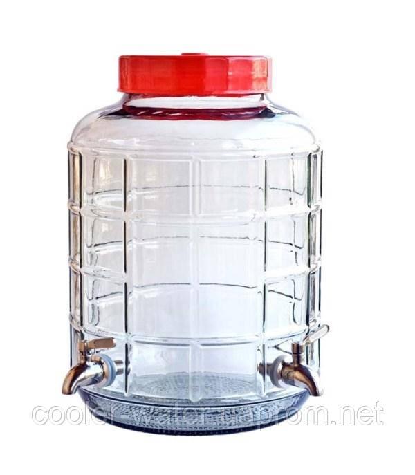 Бутыль стеклянный с двумя кранами