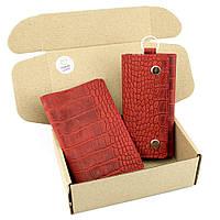 Подарочный набор №18: Обложка на паспорт Lika + ключница Lika (красный крокодил)