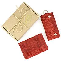 Подарочный набор №18: Обложка на паспорт Lika + ключница Lika (красный крокодил), фото 1