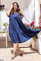Женское платье свободного кроя из легкой ткани темно-синий
