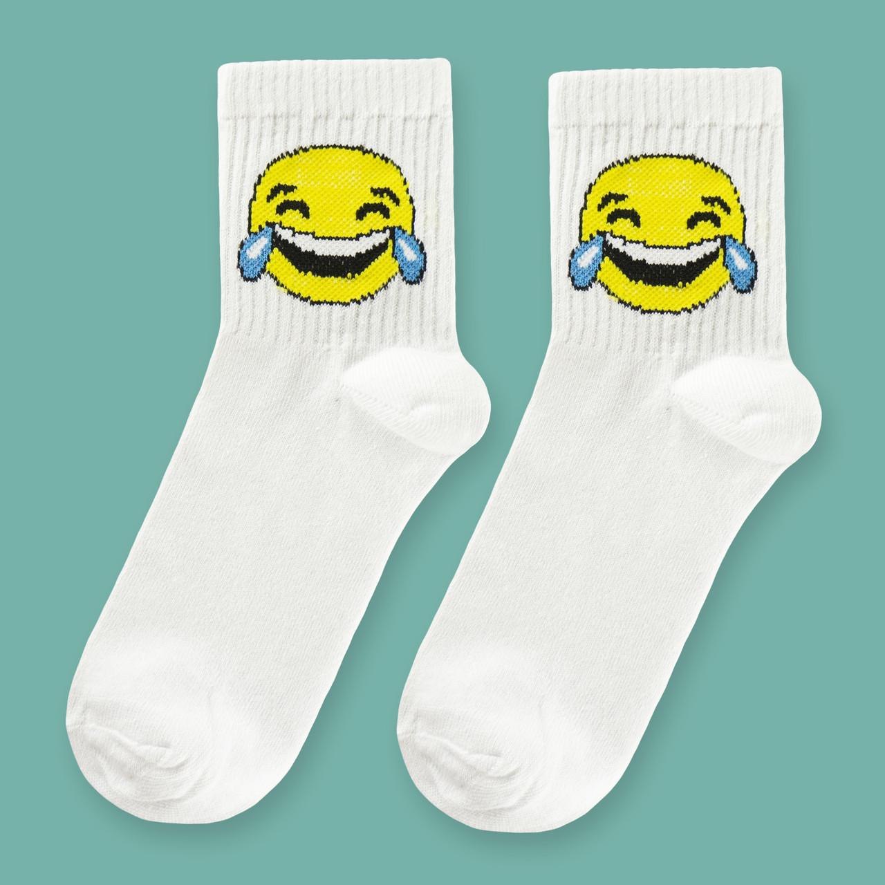 """Шкарпетки білі з принтом """"Смайли"""""""