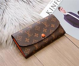 Большой кошелек реплика Louis Vuitton Monogram на кнопке   lv монограм   лв (0814) Оранжевый