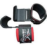 Гаки для тяги на зап'ястя Power System Hardcore Hooks PS-3310 Чорно-червоний, фото 2
