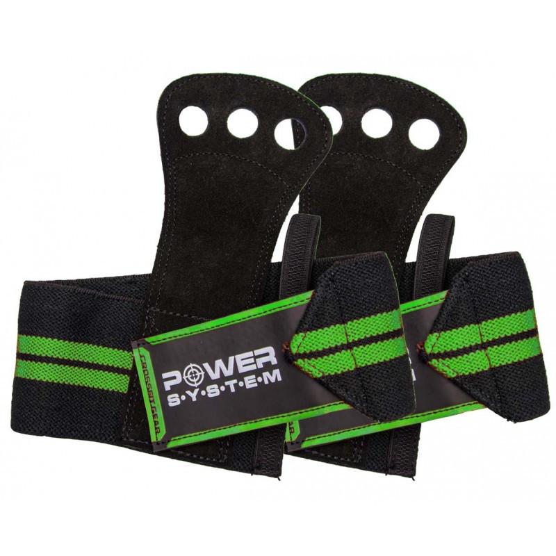 Накладки гимнастические Power System Crossfit Grip PS-3330 Black/Green (Пара) Черно-зеленый