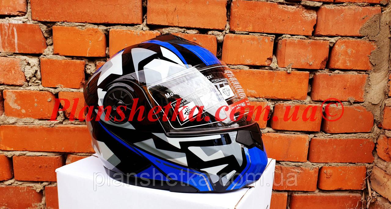 Шолом для мотоцикла F2-159 трансформер + окуляри синій + чорний XS/S