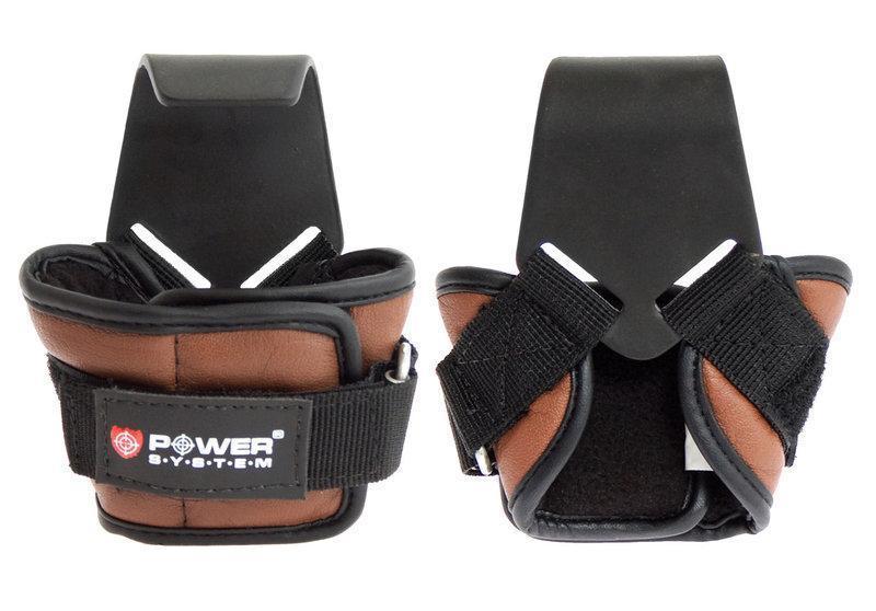 Гаки для тяги на зап'ястя Power System Hooks PS-3300 L Brown Чорно-коричневий