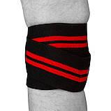 Бинти для колін PowerPlay 2509 Чорно-Червоні, фото 3