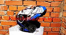 Шолом для мотоцикла F2-159 трансформер + окуляри синій + чорний XS/S, фото 3