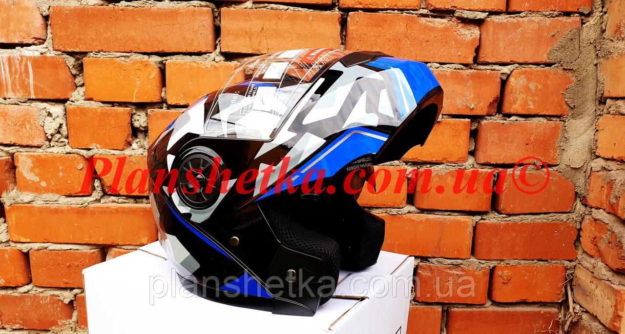 Шлем для мотоцикла F2-159 трансформер + очки синий + черный XS/S, фото 3