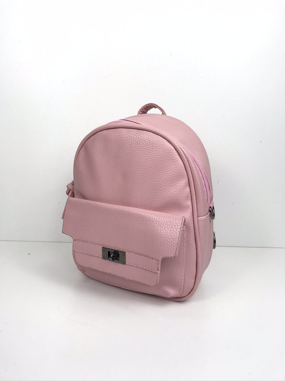 Рюкзак середнього розміру з кишенею зпереду Еко-шкіра (0501) Рожевий