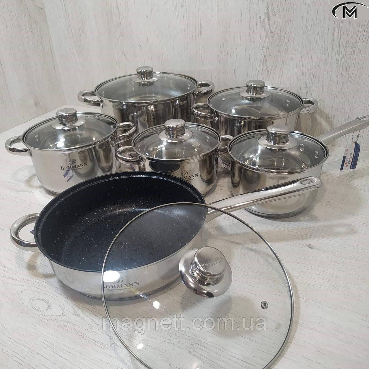 Набор кастрюль 12 предметов из нержавеющей стали BOHMANN BH-70613-12