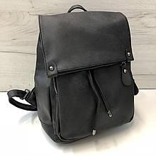 Рюкзак городской под фактуру ткани | портфель PU-кожа (0555) Черный