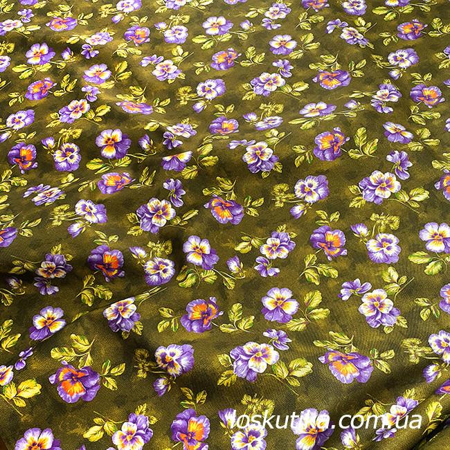 57006 Незабудки. Ткань в цветочек. Хлопок. Декоративные ткани для шитья и рукоделия.