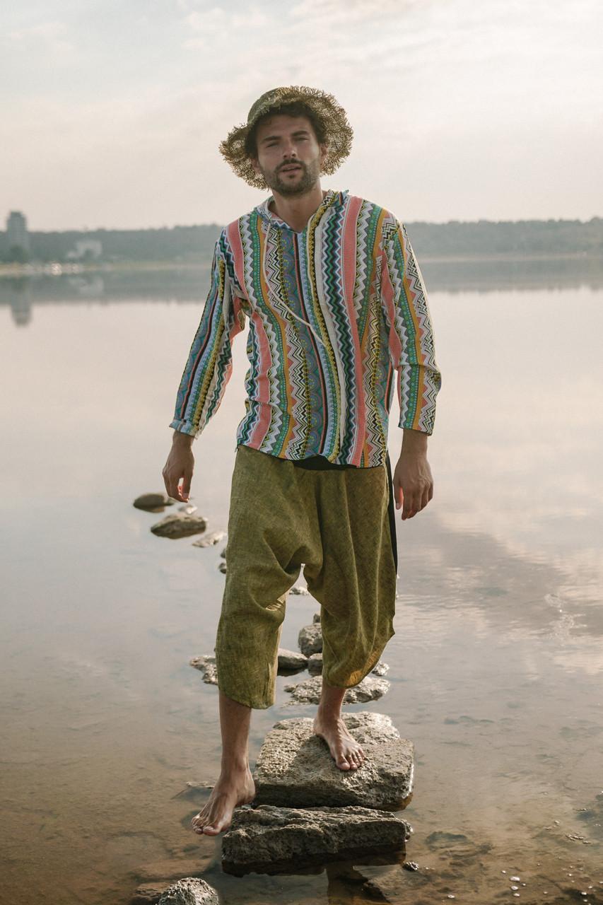 Классные комфортные свободные удобные штаны  цвета хаки.