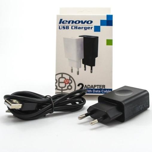 Сетевое зарядное устройство Lenovo 2A с кабелем micro usb Белый