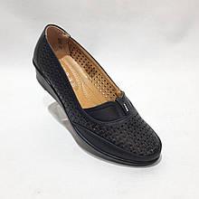 37,38 р. Жіночі туфлі літні з перфорацією чорні