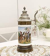 Коллекционный немецкий бокал для пива, керамика, оловянная крышка, Германия, 500 мл, фото 1
