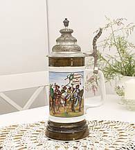 Коллекционный немецкий бокал для пива, керамика, оловянная крышка, Германия, 500 мл